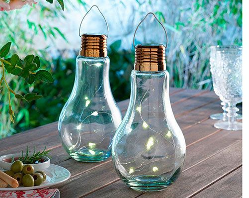 large bulb shaped solar power micro LEDs hanging outdoor garden lighting set