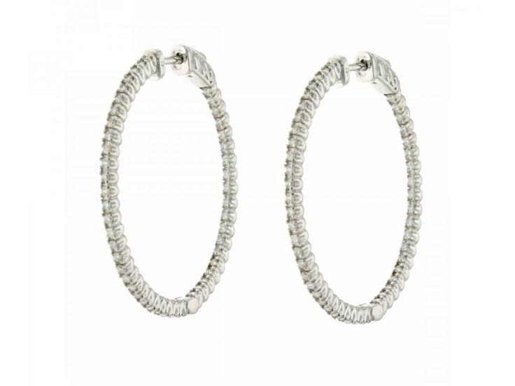 Orecchini a cerchio oro bianco diamanti carati 0,94 G-VS1 per Natale