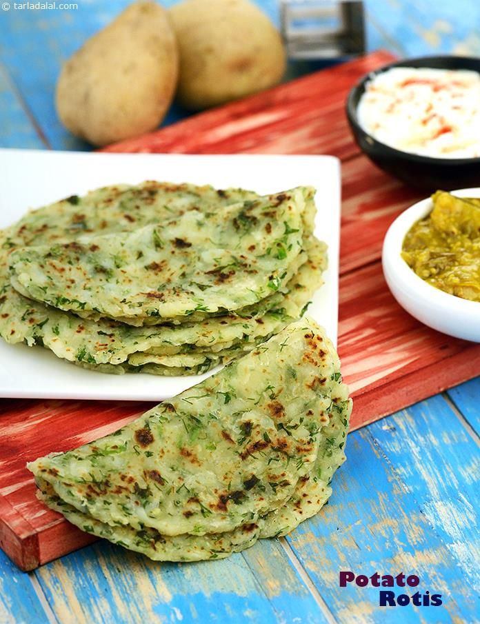 Potato Rotis, the addition of boiled and grated potatoes makes these rotis so soft that they literally melt in your mouth!