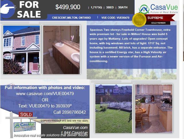 #homeforsale 1717 SqFt 3-bed 3-bath $499,900 #Milton #Toronto #Ontario #realestate More details :http://bit.ly/1177lCq  Svetlana Shatokhin : phone # 2898786042
