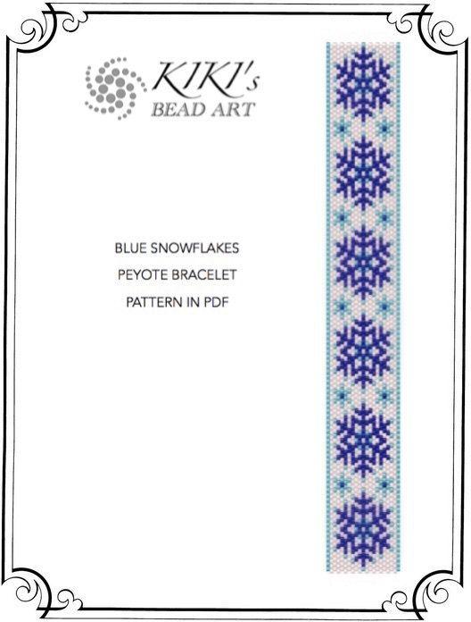 Pattern peyote bracelet Blue snowflakes peyote by KikisBeadArt