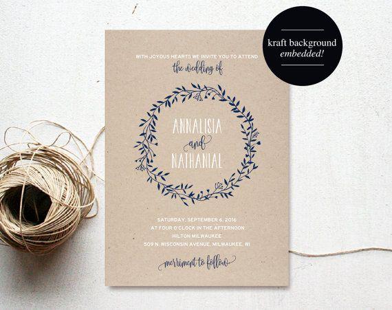 Wreath Wedding Invitation Template, Navy Blue Invitation, Floral, Rustic, Kraft Invitation, Cheap, Printable, PDF Instant Download #BPB219_1