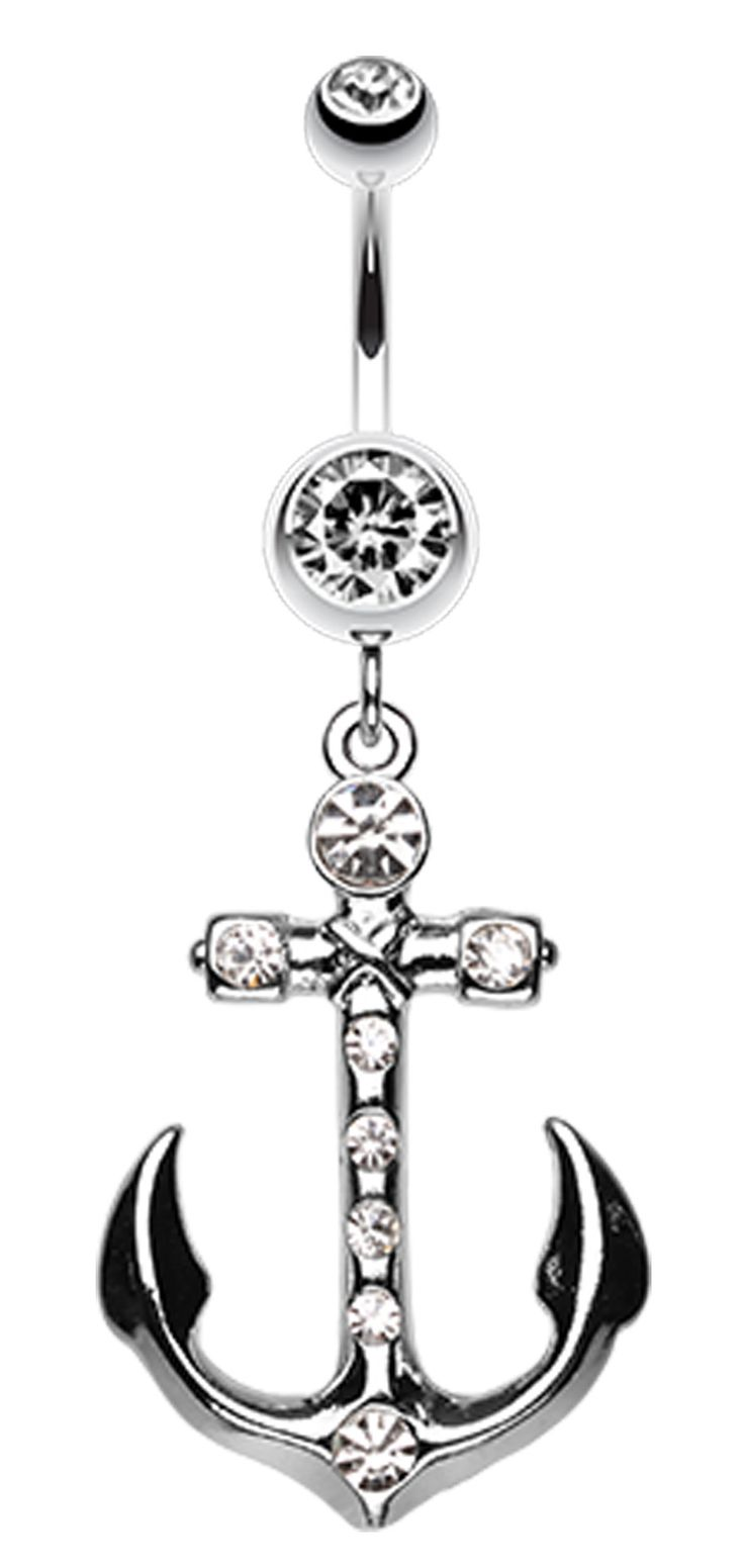 Jeweled Anchor Belly Button Ring