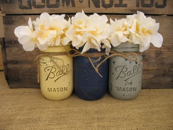 Mason Jars, Decorative Mason Jars, Wedding Centerpieces, Teacher appreciation Gift, Coffee Table Home Decor, Grey, Yellow  And Navy Vases