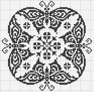 Round 09   Free chart for cross-stitch, filet crochet   Chart for pattern - Gráfico