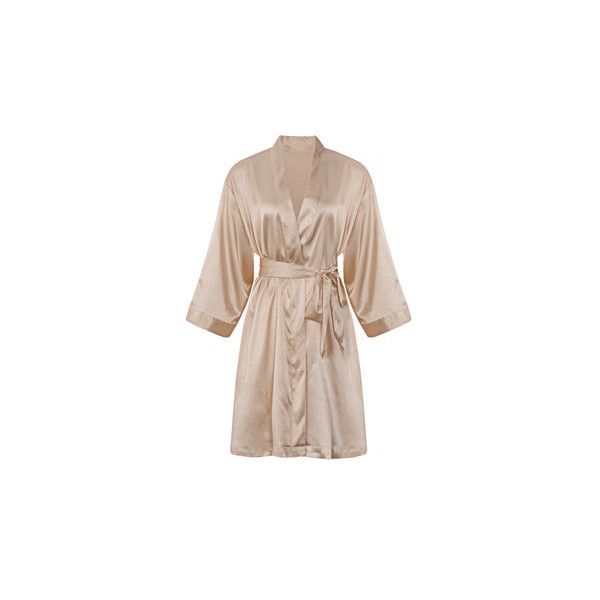 Comfortable Long Sleeved Smooth Silk Loungewear Night-robe ($13) ❤ liked on Polyvore featuring intimates, robes, champagne, silk bathrobe, silk robe, dressing gown, silk dressing gown and bath robes