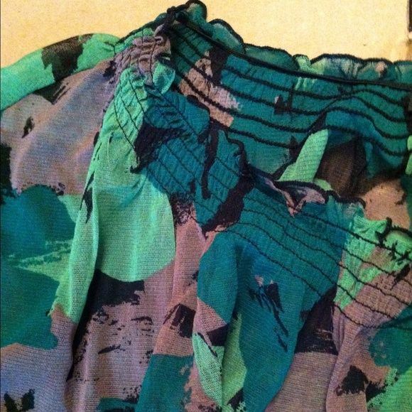 "DONATE 3/28 Black /Green Sheer Top Sz S by INC A mix of colors, greens, mauve, black... Sheer top with shirred elastic neckline, can be worn on shoulders or pulled down below them- with or without a tank top. How daring are you? Short sleeve, but has a little flutter with elastic at waist.  Measures 20"" long from top to hem and approx 17"" across bust. INC International Concepts Tops"