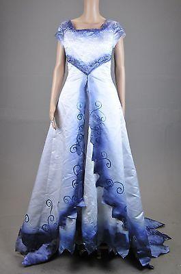 Tim Burton Corpse Bride Wedding Dress gown Costume Halloween corset back sz S M