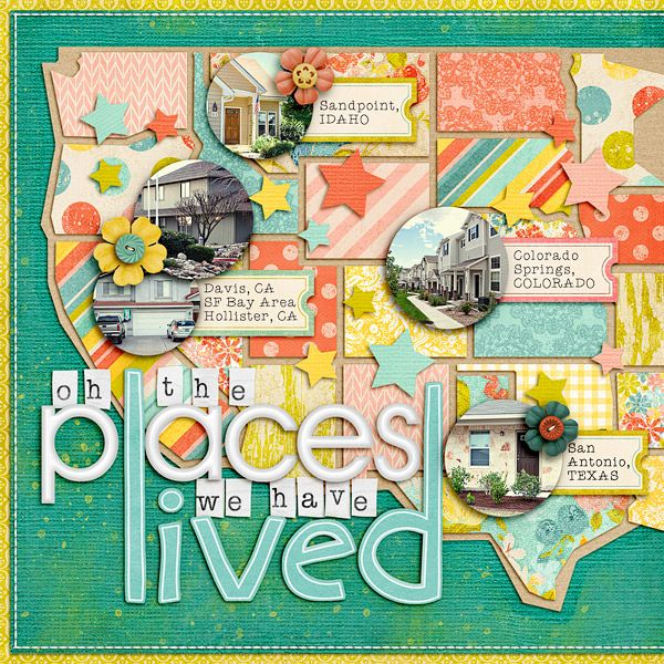 I'm going to do this with places we traveled to. Great free template + tutorial from Lynette (Nettio)
