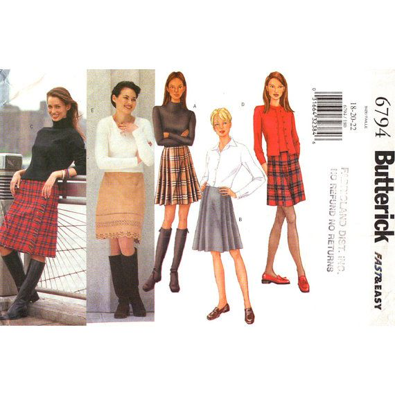 Womens Skirt Pattern Butterick 6794 Preppy by finickypatternshop