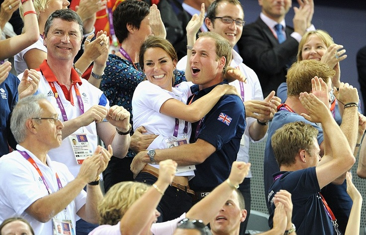 Jubilation: The Duke and Duchess of Cambridge show their delight after Sir Chris Hoy, Philip Hindes and Jason Kenny stormed to success in the velodrome yesterday afternoon.ceZ8