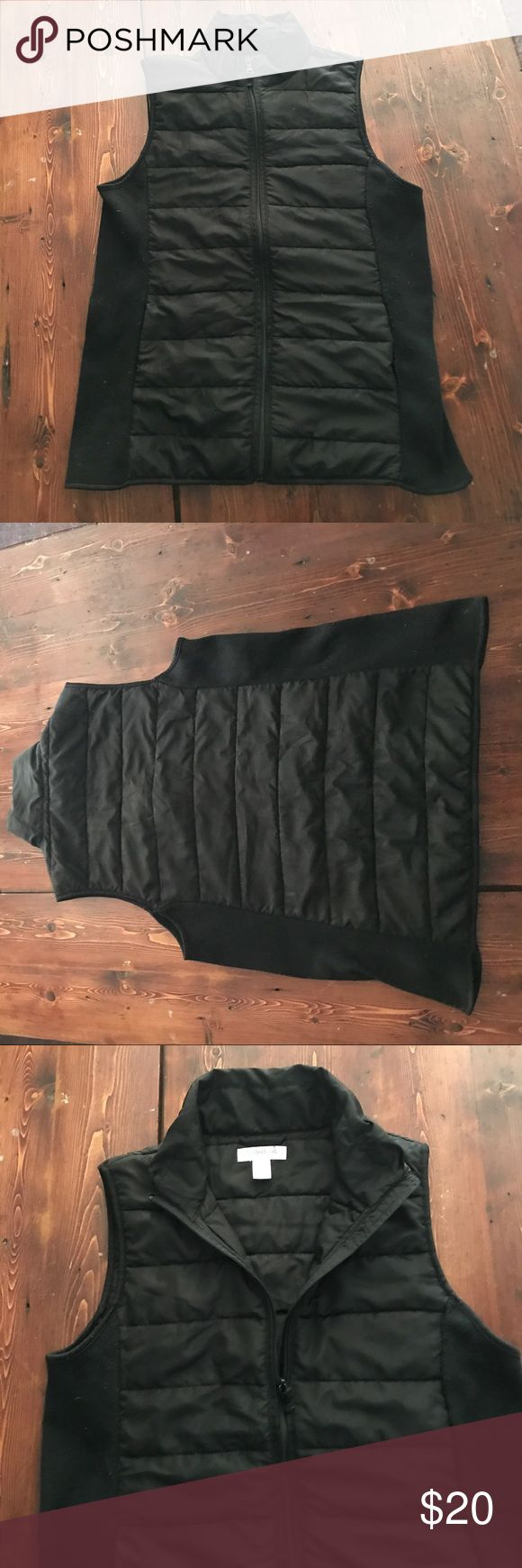 Puffer vest Black puffer vest from Motherhood (maternity). It does NOT look like a maternity vest. The side panels stretch to accommodate a growing bump but a size L woman could easily wear this without a baby bump. Gently worn. Motherhood Jackets & Coats Vests
