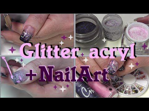 Paarse glitter acryl en NailArt met bloemen!