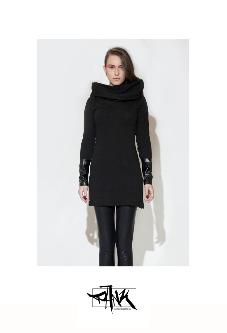 Black tunic made of heavy knit fabric with a cowl neck top and with a leatherette side slit and cuffs on the sleeves. 100 % sweatshop free, made in EU with love. For surprises and infos check our Facebook page:  https://www.facebook.com/PANKbythePussPuss