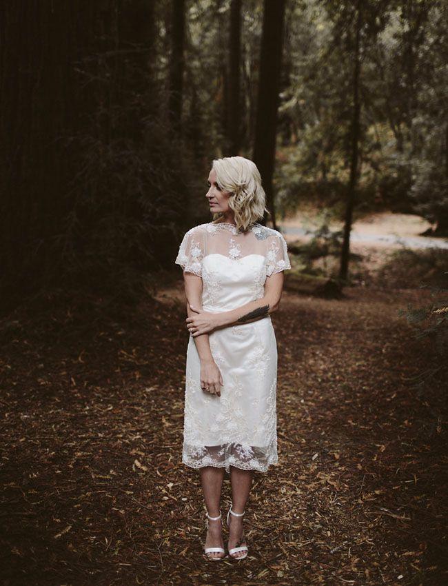 short lace vintage inspired weddng dress