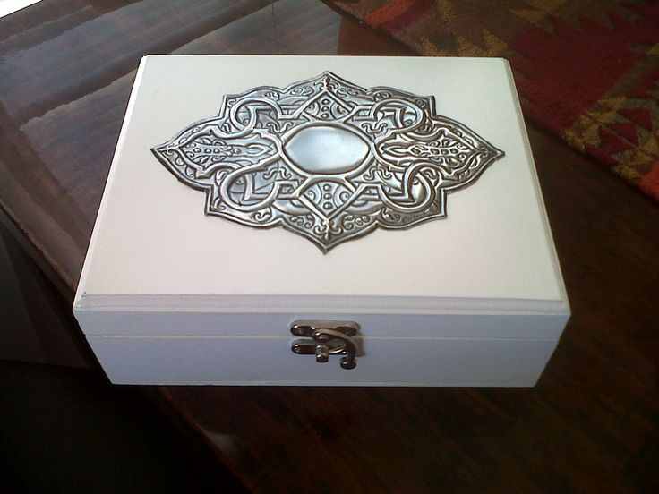 pewtered design on jewellery box