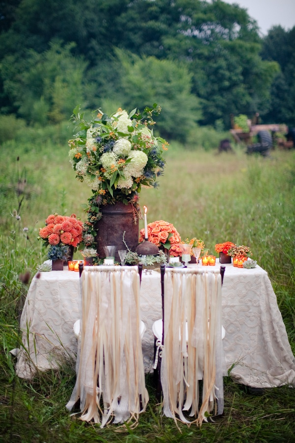 Candle setting for outside wedding. Good summer colors! Classy and antique-looking too.