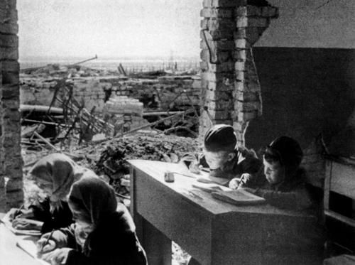 School in Stalingrad, 1943 -- also where one country was paused in war because of weather conditions