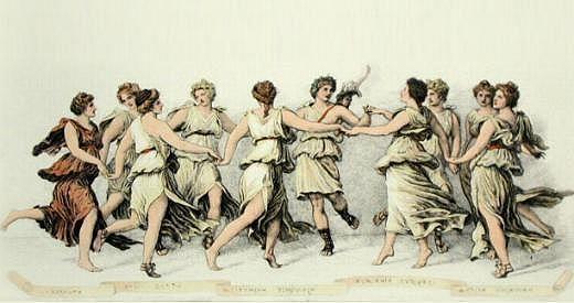 MUSAS: las 9 hijas de Zeus y Mnemésine, mediadoras entre el dios y el intelectual. Calíope es la musa de la elocuencia, Clío la de la historia, Erato, de la elegía, Euterpe, de la música, Melpómene, de la tragedia, Polimnia, de la retórica, Terpsícore de la danza, Talía de la comedia y Urania de la astronomía y astrología.