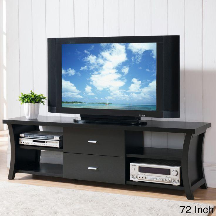 Modern 2 drawer tv stand with open shelving open shelves for Furniture of america danbury modern