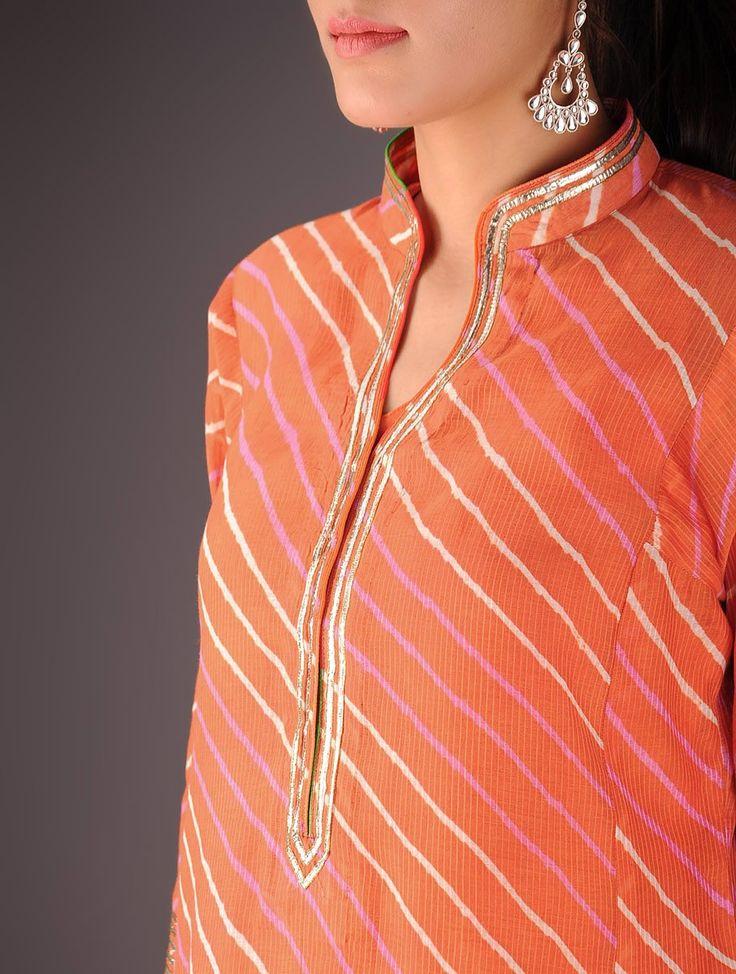 Orange-Golden Maheshwari Leheriya Gota Embellished Kurta with Lining - Buy > > Orange-Golden Maheshwari Leheriya Gota Embellished Kurta with Lining Online at Jaypore.com