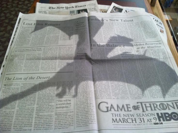 Pubblicità per Game of Thrones sul New York Times