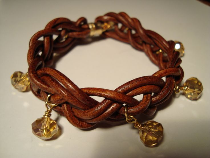 brown leather bracelet, hand woven with glass beads https://www.facebook.com/pages/Handmade-Creations-by-Efi/187659788043676