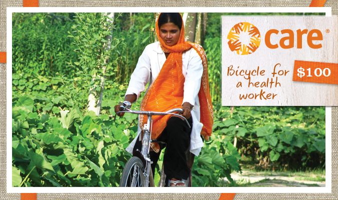 Community health workers have difficulty reaching pregnant mothers and their children in rural communities. A bicycle allows a health worker to spend more time safely supporting pregnant women and newborns.