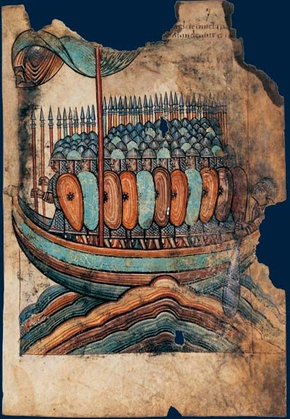 """""""Tableaux de la vie de saint Aubin. Deuxième partie du XIe siècle. Manuscrit sur parchemin (25,5 x 18,5 cm) BNF, Manuscrits, NAL 1390, f. 7 À peu près contemporaine de la tapisserie de Bayeux, cette représentation d'une barque normande allant assiéger Guérande surprend par la détermination des guerriers, peu sensibles à la fragilité et au délabrement de leur embarcation (mâture brisée et voiles déchirées) ni à l'état de la mer, pourtant formée."""""""