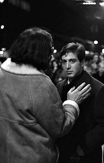 "Al Pacino being directed by Francis Ford Coppola on the set of ""The Godfather""."