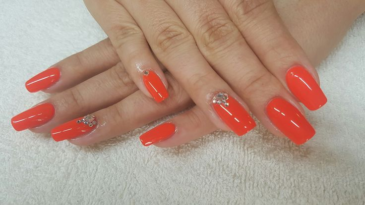 Neon red with swarovski