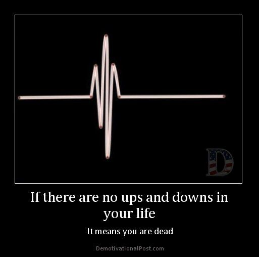 If there are no ups and downs in your life, it means you are dead.