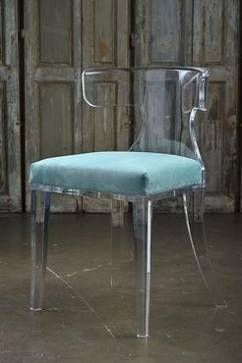 Veronica Acrylic Dining Chair with Turquoise Passion Suede Upholstered Seat COM Available, Please Call For Pricing and Lead Time