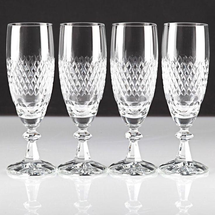 4 Vintage Sektgläser Waffelschliff Kristall Glas Sektkelche Gläser Schliff U1U