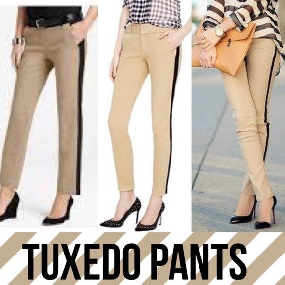 "Ann Taylor Petite khaki tuxedo stripe pants Super fun khaki tuxedo stripe  trousers by Ann Taylor Petite. Size 4P. These are a very light tan color with black stripe down both sides. Stripe width is about 1.25"". Belt loops. Excellent condition!  Materials are polyester and spandex. They are NOT lined inside. Straight leg style (not a skinny or ankle leg) Ann Taylor Pants Trousers"