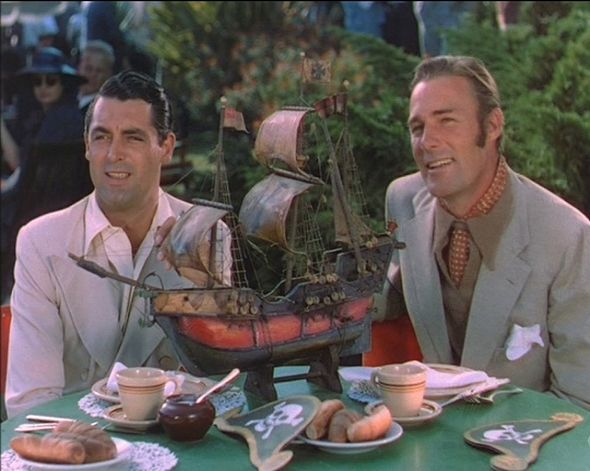 Pals Cary Grant and Randolph Scott enjoy lunch at a Pirate themed eatery