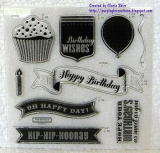 Cricut Artiste Collection Birthday - one of 3 stamp sets with this collection. http://purpleglocreations.blogspot.com