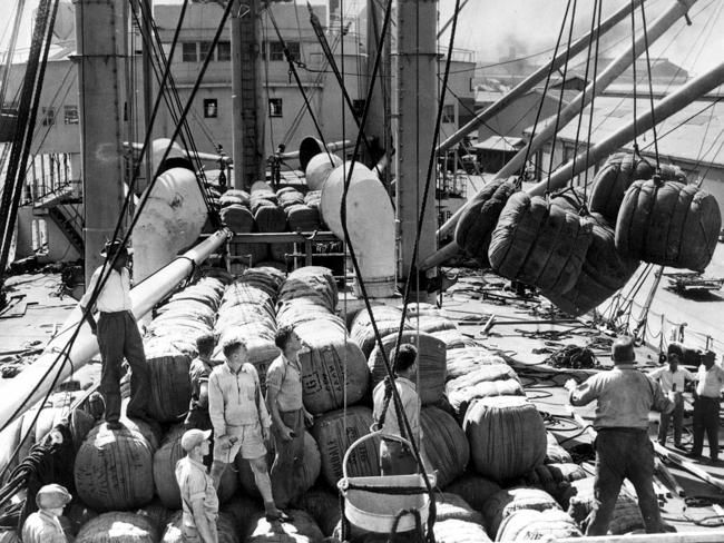 Wool is loaded on to a ship at the Port Adelaide docks in 1955.