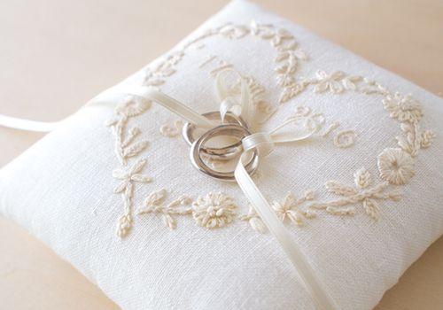 イニシャル刺繍のリングピロー(ハート)