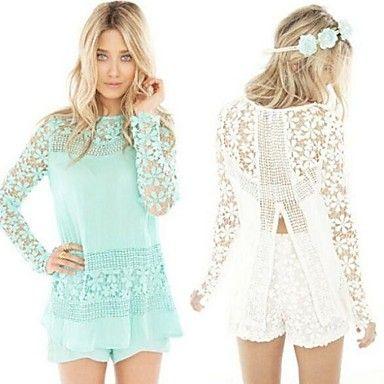 Hou&Tong® Women's Fashion Plus Size Lace Crochet Chiffon T Shirt Long Sleeve Floral Tops Round Neck Blouses – AUD $ 16.79