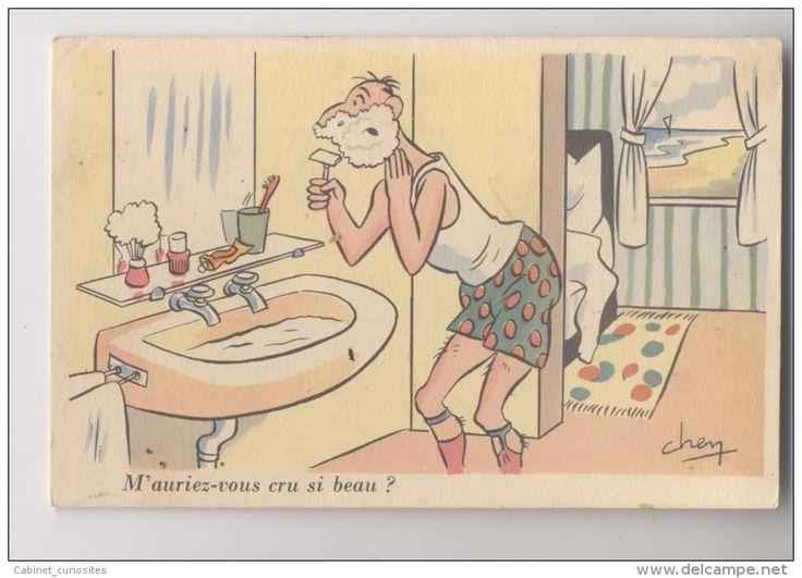 Illustrateur signé CHEN - 1932 -  RASAGE - Rasoir - Barbe - Lavabo -  Homme en caleçon