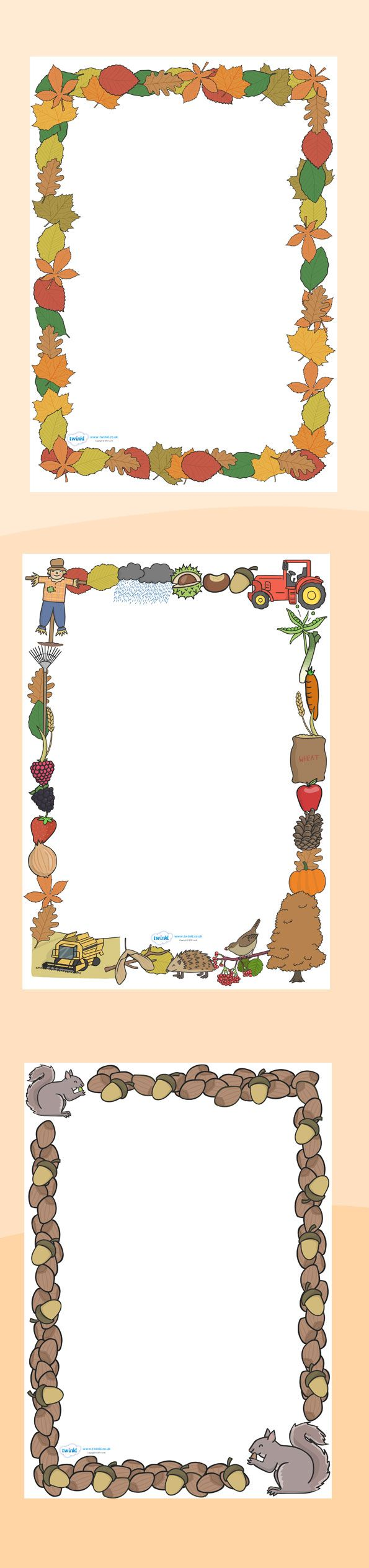 Autumn leaf cutouts templates clipart best - Twinkl Resources Autumn Page Borders Printable Resources For Primary Eyfs