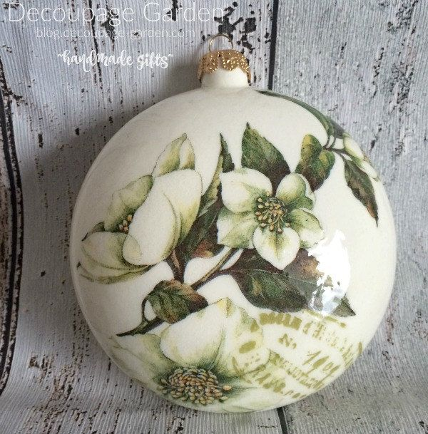Christmas Rose bauble, Christmas Rose Ornament, Romantic Christmas Bauble, Christmas Flower bauble by DecorativeGarden on Etsy