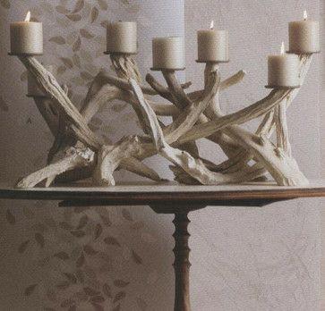drift wood candle holders -