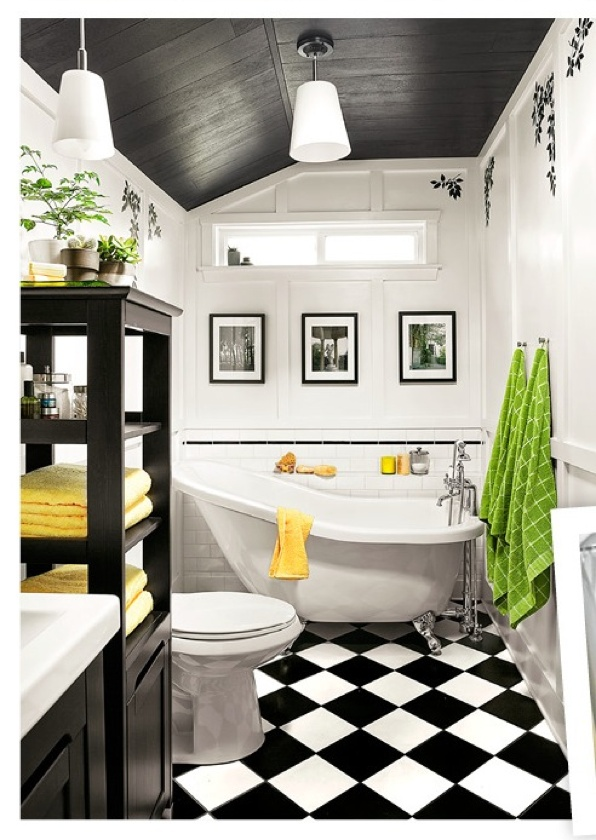 Graphic black & white bathroom w/yellow pops via This Old House. |Pinned from PinTo for iPad|