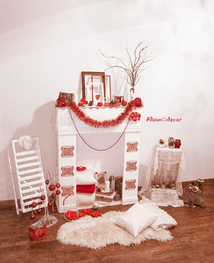 Зимний фотосет (красно-белая тема) ветки, санки, милые коврики