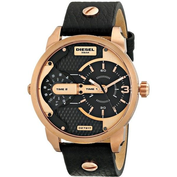 Diesel Mr. Daddy Watches featuring polyvore, women's fashion, jewelry, watches, fashion watches, water resistant watches, blue dial watches, military style watches, digital watch and diesel jewelry