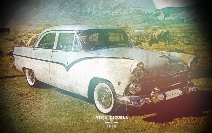 Carro Vieja escuela , Edición / Fotomontaje
