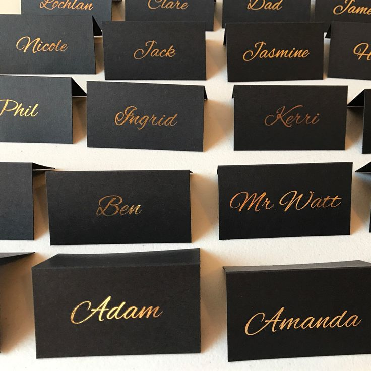 Black and gold foil tent place cards
