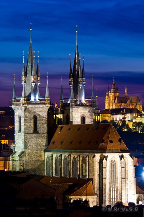 The Church of Our Lady before Tyn as viewed from the Powder Tower in Prague, Czech Republic.